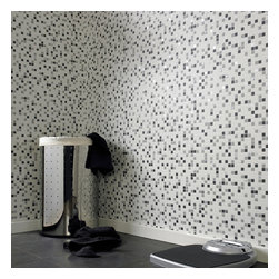 Graham & Brown - Checker Wallpaper - Mosaic tiles are such a big trend at the moment but are tricky and time consuming to do - but not with our shimmering mosaic tile effect black and white checkered wallpaper.