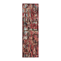"""Nourison - Nourison Modesto MDS03 2'2""""x7'3"""" Red Area Rug 18314 - Make a bold statement with this strikingly modern mosaic pattern area rug. Shades of red, brown, black and grey melt and merge across a mosaic of squares that all at once makes a declaration of organized chaos and modern art. The daring, modern art design of this piece will radically redefine any space."""