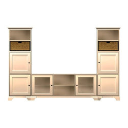 Howard Miller Custom - Owen Cabinet w 6 Doors in Antique Vanilla - This cabinet is finished in Antique Vanilla on select Hardwoods and Veneers, with Antique Brass hardware. Console:. 2 doors with plain Glass. 3 adjustable interior shelves. Tower:. 4 inset panel doors. 6 adjustable interior shelves and 2 large woven baskets. Cove profile top and cove profile base. Hardware: knob on doors and drawers. Features soft-close doors and metal shelf clips. Simple assembly required. Console: 70 1/4 in. W x 21 3/4 in. D x 29 in. H. 24 3/4 in. W x 15 3/4 in. D x 76 1/2 in. H