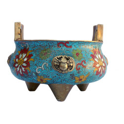 Golden Lotus - Chinese Bronze Turquoise Cloisonne Tri legs Incense Burner - This is a hand made precise Cloisonne Metal incense burner with three legs simple handle. The body is in blue base color and oriental wire color pigment is inset around.