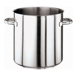 Paderno World Cuisine - 158 1/2 Quart Stainless Steel Stock Pot, No Lid - This Paderno World Cuisine stainless steel stock pot (without lid) can hold 158 1/2 quarts. This stock pot has welded handles. The stainless steel stock pot, with its tri-metal bottom, is used most commonly for simmering. It is ideal for making soup, as the equal lengths of its diameter and height limit evaporation. It is induction compatible.