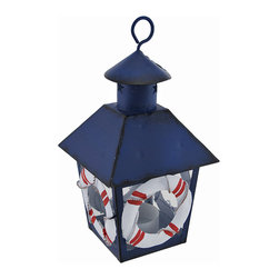 Zeckos - Blue Nautical Life Ring Mini Metal Tealight Lantern - This miniature metal tea light lantern can be displayed either hanging or sitting on a tabletop, making it a great little decor accent or part of a party centerpiece. The lantern is approximately 7 inches tall (not including the hanger), and measures 4 inches by 4 inches around the top. It is painted with a blue enamel, has a distressed finish, and the life rings are hand painted. The tea light holder is removable from the bottom and can accommodate up to 1 1/2 inch tea light candles. Use battery operated LED tea lights for worry-free accent lighting that lasts all night. This lantern is a great accent in rooms, on porches, or at bars with beach or nautical themes.