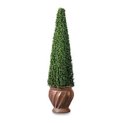 "Improvements - Square Cone Artificial Topiary - 48"" - Faux topiary features densely packed leaves in an elegant cone shape. Square Cone Artificial Topiary offers a lovely natural look without the work. Long-lasting faux topiary is weather-resistant and easy to move. Use our Square Cone Artificial Topiary to add elegance by your front door, on a deck, or in any room of your home. With its mini tea leaf foliage in an architectural design, this faux topiary looks amazingly natural, even up close. This Square Cone Artificial Topiary offers densely packed leaves on a sturdy wire frame, plus it's weather-resistant and long lasting. Use the Square Cone Artificial Topiary outdoors or in; just place the weighted plastic pot inside your own decorative planter. The thick leaf polyethylene construction makes our artificial topiary look so realistic, you'll want to water it. The Square Cone Artificial Topiary never needs trimming, and you won't have to worry about leaves turning brown and falling off! NOTE: Urn planter shown at left is sold separately. Benefits of the Square Cone Artificial Topiary:    Looking for a different style? Check our complete selection of Topiaries & Artificial Plants."