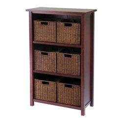 Winsome - Milan 7pc Cabinet/Shelf with Baskets - Simple Desing yet function and attractive storage shelf with 6 wired baskets is a perfect place to store your goodies. Perfect for every room in the house. Shelf needs assembly.