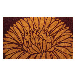 Entryways - Mums Hand Woven Coconut Fiber Doormat - Designed by an artist, this distinctive mat is a work of art that will add a welcoming touch to any home. It is from Entryways' handmade collection and meets the industry's highest standards. This decorative mat is handsomely hand woven and hand stenciled.