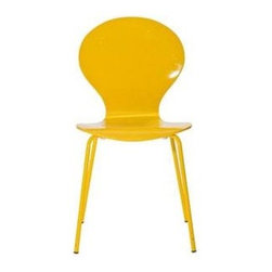 "LexMod - Insect Dining Side Chair in Yellow - Insect Dining Side Chair in Yellow - For true flights of fancy, no house is complete without an Insect Chair. Good for dinning room or living room, this creatively styled piece is sure to draw attention and admiration. Set Includes: One - Insect Chair in Glossy Wood Laminate Body, Stackable, Chrome Legs Overall Product Dimensions: 20.5""L x 17""W x 34""H Seat Dimensions: 16""L x 18""H - Mid Century Modern Furniture."