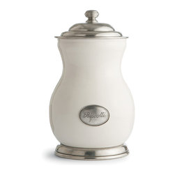 Festivo Biscotti Canister - Round forms compose the neat, tailored pear shape of the Festivo Biscotti Canister, a countertop jar made from white ceramic and Italian pewter for the European-inspired kitchen.  Its bright and authentic look comes from a curvacious silhouette given verticality by a high knob on the lid despite the horizontal detail of etched decorative rings and a swelling jar.  A pewter medallion in the ceramic sides adds personality and notes the presence of sweets within.