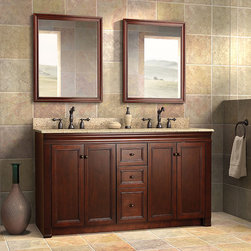 Shawna Collection - by Foremost - With its elegant and classic lines, the Shawna collection is reminiscent of a stately, antique bedroom bureau. Crown molding and a deep tobacco finish lend this collection, and your bathroom, an air of sophistication.