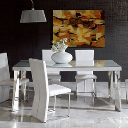 Contemporary in Wood and Glass Top Leather Kitchen Dinette Sets - Coco modern dining set in white eco-leather finish. The Dining Set consists of a table, 4 side chairs and a buffet cabinet. Made in Spain.