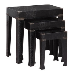 Powell Black Crocodile Faux Leather 3 Piece Nested Tables