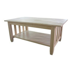 International Concepts - International Concepts Unfinished Mission Tall Coffee Table - International Concepts - Coffee Tables - BJ6TC - Featuring one lower shelf this table will be a valuable  addition to any room. Designed with functionality and elegance in mind delight your family and friends with this stunning table. Stain finish or paint to your taste this table will not disappoint.