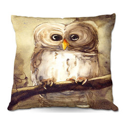 DiaNoche Designs - Pillow Woven Poplin from DiaNoche Designs by Dawn Derman - Redbird Cottage Owl - DiaNoche Designs works with artists from around the world to create astouding and unique home decor products.  Toss this decorative pillow on any bed, sofa or chair, and add personality to your chic and stylish decor. Lay your head against your new art and relax! Made of woven Poly-Poplin.  Includes a cushy supportive pillow insert, zipped inside. Dye Sublimation printing adheres the ink to the material for long life and durability. Double Sided Print, Machine Washable, Product may vary slightly from image.