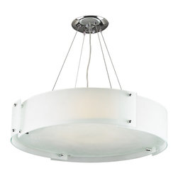 PLC Lighting - Logan Modern Chandelier - The Logan Modern Chandelier is a clean and simplistic, yet chic way to illuminate your contemporary space and and add ambiance to any room.  The acid frost glass segments overlap eachother and are secured by pins finished in polished chrome, matching the like finish of its hardware. This round fixture accommodates six (6) 60 watt incandescent bulbs with a medium base, which are not included. Included, however, is a quick grip cable support for quick and easy adjustment. This chandelier has an overall height of ten (10) feet.