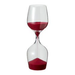 IDEA International - Wine Glass Sand Clock - Red - A smart design idea that came from a wine glass. Whilst you are leisurely enjoying your wine, this sand clock measures time (15 minutes)-the perfect gift for every wine lover.
