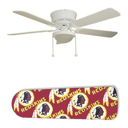 """Washington Redskins 52"""" Ceiling Fan with Lamp - This is a brand new 52-inch 5-blade ceiling fan with a dome light kit and designer blades and will be shipped in original box. It is white with a flushmount design and is adjustable for downrods if needed. This fan features 3-speed reversible airflow for energy efficiency all year long. Comes with Light kit and complete installation/assembly instructions. The blades are easy to clean using a damp-not wet cloth. The design is on one side only/opposite side is bleached oak. Made using environmentally friendly, non-toxic products. This is not a licensed product, but is made with fully licensed products. Note: Fan comes with custom blades only."""