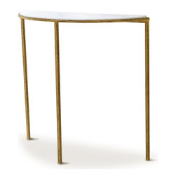 Kathy Kuo Home - Daphne Hollywood Regency Antique Gold White Marble Demilune Console Table - Add a touch of Hollywood glamour with this gorgeous gold and white marble console table. The slim, half-circle table fits discreetly against the wall in an entry or hallway. This piece creates the perfect place for a floral arrangement or collectible display. The delicate design of the distressed iron frame combines romantic and industrial styles for an eclectic element in any space.