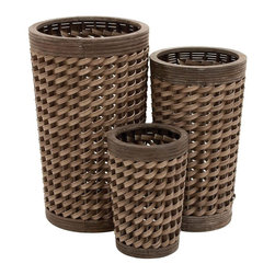 """Benzara - Wood Planter with Classy Design - Set of 3 - Lend a splash of modernity to your house with these wood pe planters. A set of three, these planters are circular in shape. These unique planters are designed to embellish and ornament indoor as well as outdoor decor. Shaped in three different sizes, these planters are a combination of functionality and versatility. You can sow these planters along the patio or on the porch to enhance your decor. Adding a rustic touch, these planters flaunt a peculiar weave pattern to complement the overall design. These wonderful planters are constructed above a wooden pedestal to protect the floor from being scratched and stained. This versatile planter set can also be gifted to your near and dear ones. Made out of wood, these planters ensure a long lasting shelf life and lasting performance for years to come..; Made out of wood; Displays a weave pattern; Set of three; Durable construction; Weight: 17.64 lbs; Dimensions:18""""W x 18""""D x 30""""H"""