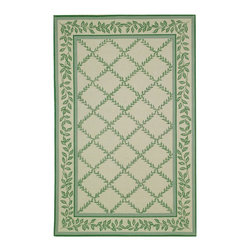 """Safavieh - Chelsea Brown/Green Area Rug HK230B - 2'6"""" x 4' - 100% pure virgin wool pile, hand-hooked to a durable cotton backing. American Country and turn-of-the-century European designs. This collection is handmade in China exclusively for Safavieh."""