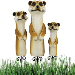 Design Toscano - Design Toscano Meerkat Garden Stake Statues - Set of 3 Multicolor - QL956809 - Shop for Statues and Sculptures from Hayneedle.com! About Design Toscano:Design Toscano is the country's premier source for statues and other historical and antique replicas which are available through the company's catalog and website. Design Toscano's founders Michael and Marilyn Stopka created Design Toscano in 1990. While on a trip to Paris the Stopkas first saw the marvelous carvings of gargoyles and water spouts at the Notre Dame Cathedral. Inspired by the beauty and mystery of these pieces they decided to introduce the world of medieval gargoyles to America in 1993. On a later trip to Albi France the Stopkas had the pleasure of being exposed to the world of Jacquard tapestries that they added quickly to the growing catalog. Since then the company's product line has grown to include Egyptian Medieval and other period pieces that are now among the current favorites of Design Toscano customers along with an extensive collection of garden fountains statuary authentic canvas replicas of oil painting masterpieces and other antique art reproductions. At Design Toscano attention to detail is important. Travel directly to the source for all historical replicas ensures brilliant design.