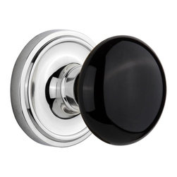Nostalgic - Nostalgic Mortise-Classic Rose-Black Porcelain Knob-Bright Chrome (NW-710386) - The simple elegance of the Classic Rosette in bright chrome offers beauty and durability that will compliment a variety of architectural styles. Add our timeless, kiln-fired Black Porcelain Knob to create a sophisticated, yet classic look. All Nostalgic Warehouse knobs are mounted on a solid (not plated) forged brass base for durability and beauty.