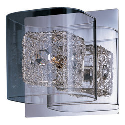 ET2 - ET2 E22830 Gem 1 Light Wall Sconce - Bulb Included - ET2 E22830 One Light Wall Sconce from the Gem Collection - Bulb IncludedAdd one of a kind elegance to any room with the Gem single light wall sconce. Featuring a powerful G9 xenon bulb surrounded by a complex twisted wire cube topped with a jewel-like crystal, the entire ensemble is surrounded by a squared off clear glass cylinder for a stylish look that will set your decor apart as unique and specialET2 E22830 Specifications: