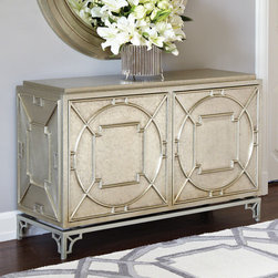Global Views - Global Views Arabesque Chest - The Global Views Arabesque chest imparts vintage-inspired style to contemporary interiors. A three-dimensional lattice design and white alloy metal finish create a glam storage furnishing. Hardwood and MDF; Metal clad; Zinc sheet; Two doors