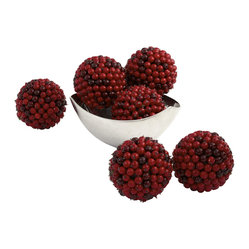 "Nearly Natural 5"" Red Berry Ball (Set of 6)"
