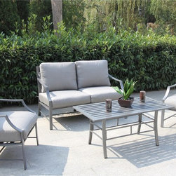 Bellini - Paragon 4-piece Deep Seating Collection - The refined aluminum construction of this Paragon Four-piece Deep Seating Collection escorts guests into luxurious comfort. The contemporary design has clean lines and a gorgeous powder coating finish in zinc grey.