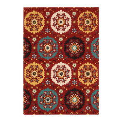 """Nourison - Nourison Suzani SUZ01 8'"""" x 10'6"""" Red Area Rug 13963 - Folkloric traditions spring to life in this exuberant design. Bouquets of blossoms are showcased on """"doilies"""" of turquoise, ivory, daffodil and black on a background of bright crimson. Twining vines dotted with daisies complete the exciting effect of this wonderfully textured and richly colored rug."""