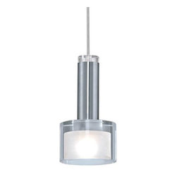 Eglo Lighting - Fabiana 90574A - Pendant Lamp | Eglo - Eglo Lighting Fabiana�_90574A�_Pendant Lamp features a�_chrome finish with white and clear shade. Manufacturer:�_Eglo LightingSize:�_5.8 in. diameter x 59 in. height max Light Source:�_1 x 40 watt G9 Halogen - included Certifications: ETL Location: Dry