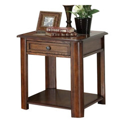 Homelegance - Homelegance McMillen Rectangular 1-Drawer End Table with Slate Inlay - Impressive in the transitional or rustic home, the McMillen collection offers a streamlined look with natural design elements. Slate inlay tops are well complimented by the burnished oak finish. The cocktail table features a lift mechanism allowing you to work or eat in the comfort of your living room. Cocktail table comes with casters for easy movement.