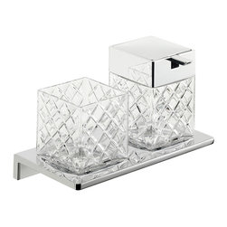 """WS Bath Collections - Asio Soap Dispenser and Toothbrush Holder - Asio 1331.204.02, 8.7"""" x 4.5"""" x 5.3"""", Holder with Toothbrush Holder and Soap Dispenser in Cut Crystal Glass/ Polished Chrome"""