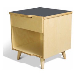 True Modern - 11 Ply 1 Drawer Nightstand - TrueModern's 11 Ply nightstand is constructed from sustainable birch plywood and features the signature cutouts and interlocking drawer face. It has a classic modern design with solid birch Danish-style legs and a laminate top. Exposed plywood edges make this collection one for the true modernist at heart. There is also a cutout handle on the top edge of the drawer face that fits perfectly in the top of the dresser. Laminate tops are available in crisp white, postal blue, atomic orange and dark gray. Features: -Exposed plywood edges.-Cutout handle on the top edge of the drawer face that fits perfectly in the top of the dresser.-Made in the USA.-Sustainable birch plywood and laminate top construction.-Distressed: No.-Collection: 11-Ply.-Country of Manufacture: United States.Dimensions: -Overall Product Weight: 24 lbs.