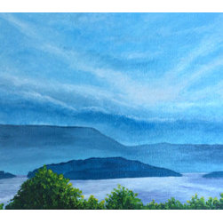 Lake Dardanelle, Arkansas:  Sun Shines No Matter What! (Original) by Laura Wofor - This piece is accompanied by two wing panels size 9 x 12.  It is the second piece I created in acrylic paint.  It is what helped heal the wound in my soul when I had to send my youngest son off to boarding school.  On the way there, this gorgeous panorama was my assurance that he would be okay there.  The blues, greens and touches of violets soothed the ache and helped me remember that I needed to stay at peace with God's plan.