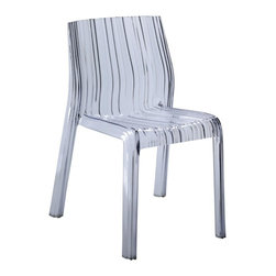 Fine Mod Imports - Stripe Dining Chair - Contemporary style. Shock, scratch and weather resistant. Can be used for indoors or outdoors. Warranty: 1 year. Made from transparent polycarbonate and acrylic. Clear color. No assembly required. 21 in. W x 18 in. D x 27 in. H (15 lbs.)The stripe dining chair is serene design which allows it to be used for residential or commercial uses. It transcends space, creating space where there was little. The chair is sturdy and durable even as it displays delicate, ethereal appearance.