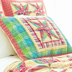 Pine Cone Hill - bright patchwork quilted sham - Enjoy the arts-and-crafts feel of our farmer's market bedding collection featuring charismatic bursts of color softened by traditional patterns. A bright and cheery mellange of vintage and modern with classic sensibility, this collection mixes soft florals and plush textures to lend a traditional look and feel to decorative pillows, shams and bed skirts. Charming bedspreads and throw blankets finish the bed with casual sophistication.