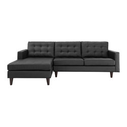 LexMod - Empress Sectional Sofa Set in Black - End the rule of unjust sovereignties that wage a useless war for your interiors. Empress leaves the would be heiress of holistic furnishings in the dust, with a design that rivals any competitor. Empress is heralded with deeply tufted buttons, plush cushions and armrests that convey that perfect air of nobility. The solid wood legs come with plastic glides to prevent floor scratching, and leather upholstery leaves the recipients feeling richly rewarded.