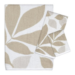 Creative Bath Products - Creative Bath Shadow Leaves 100% Cotton 3 Piece Bath Towel Set Multicolor - CBP1 - Shop for Towels from Hayneedle.com! Add casual elegance to your bathroom with the Creative Bath Shadow Leaves 100% Cotton 3 Piece Bath Towel Set. This beautiful towel set features a pattern of tan leaves on a light background; this neutral color scheme makes it easy to coordinate with almost any bathroom decor. Each piece is made from 100% cotton for softness and absorbency and is durable enough for everyday use. Perfect for a guest bathroom this set also makes a great decorative accent.Dimensions:Bath towel: 50L x 25W inchesHand towel: 25L x 14W inchesWash cloth: 11L x 11W inchesAbout Creative BathFor over 30 years Creative Bath has developed innovative stylish bathroom decor items. They have grown exponentially and now you can find their products in major retail and online stores around the world. From shower curtains to soap dishes and everything in between Creative Bath brings you high quality items to enhance your lifestyle.