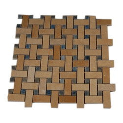 "GlassTileStore - Basket Weave Jerusalem Gold Marble Mosaic Tile With Blue Macauba Dot - BASKET WEAVE JERUSALEM GOLD WITH BLUE MACAHUBA DOT GLASS TILES  A beautiful mosaic made consisting of Jerusalem Gold and Blue Macahuba in a pleasing basket weave pattern. This is genuine BLUE MACAHUBA, one of the most rare materials there are, contrasted fantastically with jerusalem gold. Each piece fits into the next like a perfect puzzle. Its stunning design with its intricate basket weave pattern will bring warmth and a natural ambience to your home. The mesh backing not only simplifies installation, it also allows the tiles to be separated which adds to their design flexibility.     Chip Size: Line: 3/4"" x 2""  Dot: 1/2"" x 1/2""   Color:Jerusalem Gold, Blue   Material: Jerusalem Gold, Macahuba Blue   Finish: Polished   Sold by the Piece - each piece covers a 1 square foot area   Sheet Size: 12"" x 12""    Thickness: 8mm    - Glass Tile -"