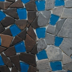 Sea Glass Tile And Pebbles Abyss Mosaic Blend, Box - Sold by the box of 10 sheets