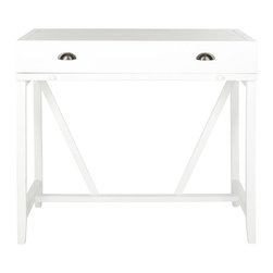Safavieh - Wyatt Writing Desk W/Pull Out - White - Simple styling is paired with functionality in the Wyatt writing desk. With a top that closes and a pull out writing table, this discreet forty-inch wide and twenty-two inch deep piece makes keeping up with the bills easy. Some assembly required.