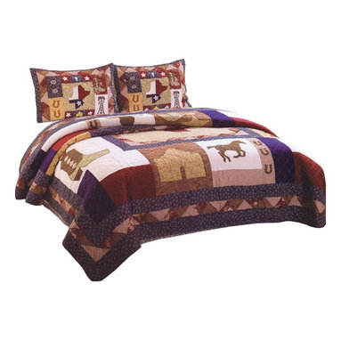 American Traditions - Texas Pride King Quilt and Shams - The great state of Texas inspires this classic country quilt. Patriotic in the with the red, white, and blue colors this quilt features icons of the lone star state like the Alamo, cowboy boots and oil rigs. This is a great quilt for making that wild west themed room or just bringing a fun quilt into a patriotic setting. Texas Pride King Quilt and Shams features: King Quilt measures 100 inches by 90 inches and 2 standard size 20x26 inch shams. Pre washed and pieced 100% cotton face cloth. Filled with 100% polyester. Machine washable. Made in China. Items not specified are sold separately.