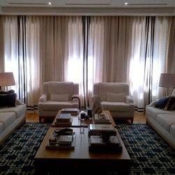 WINDOW TREATMENTS MIAMI & NEW YORK - LINEN MANUAL RIPPLE FOLD CURTAIN WITH BANDING