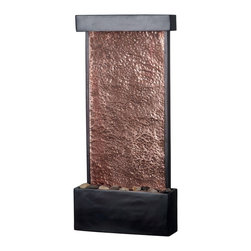 Kenroy Home - Kenroy 50002ORB Falling Water Wall/Table Fountain - With a lovely natural Copper panel for water to skim along, this thin fountain saves space while still catching the eye and ear.