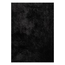 Rug - Solid Black Shaggy Area Rug, Black, 2 X 3 Ft, Solid, Hand-Tufted Area Rugs - Living Room Hand-tufted Shaggy Area Rug Door Mat