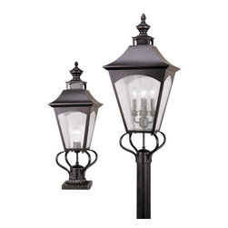 Murray Feiss - Murray Feiss Homestead Traditional Outdoor Post Lantern X-BRO7001LO - A unique blend of details, including a traditional lantern shape, add visual interest to this Murray Feiss outdoor post lantern light. From the Homestead Collection, the colonial inspired design is highlighted by a rich Oil Rubbed Bronze finish. Thick clear seeded glass shades add additional texture that helps pull the look together.