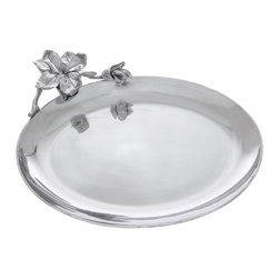 Arthur Court - Magnolia Oval Platter - Wash by hand with mild dish soap and dry immediately. Product not intended as cookware. Can withstand 350 F. Refrigerator and freezer safe.