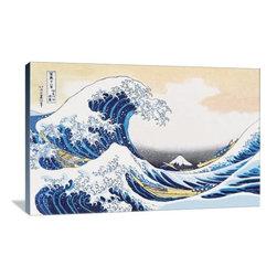 "Artsy Canvas - The Great Wave Of Kanagawa 36"" X 24"" Gallery Wrapped Canvas Wall Art - The Great Wave of Kanagawa - Katsushika Hokusai (1760 beautifully represented on 36"" x 24"" high-quality, gallery wrapped canvas wall art"