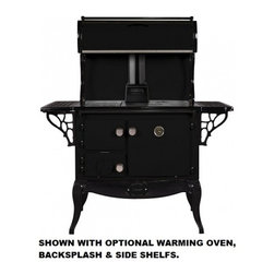 "Stanley - WSERWBNBBLK Waterford Stanley 36"" Wood Stove with 35 000 Btu  1.8 Cu. Ft  Griddl - The large firebox will hold enough wood to heat your home for several hours A precision draft spinwheel lets you accurately control cooking and room temperatures As a home heater the Stanley performs well featuring both primary and secondary combusti..."