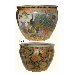 "Oriental Furnishings - Chinese Porcelain Fishbowl Planter in Satsuma Peacocks, 20"" - Porcelain Fish Bowl Planter, 20"" diameter from China, has a traditional Japanese Satsuma style pattern. Two panels are painted with Imperial Peacocks while a floral design graces the other two panels. Inside the fishbowl are decorative swimming Koi fish. Rich metallic gold is glazed in floral accents so thick that it's textured. The color pallet is wide and the contrasting tones make a great visual. This is a great size for floor use décor.  Add an elegant design statement to your planter with one of our stands available in a wide assortment of styles and wood types.  Remember to use the bottom diameter size when selecting your stand."